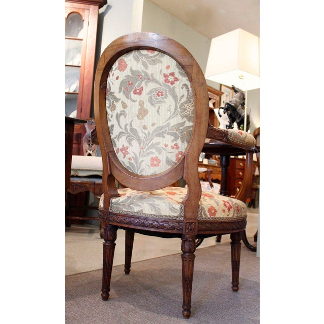 Textile Louis XVI Style Neoclassical Carved Armchairs - a Pair For Sale - Image 7 of 10