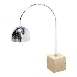 Marble Cube Base Chrome Table Lamp Arco For Sale