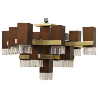 "Gaetano Sciolari ""Cubic"" Mid Century Modern Chandelier For Sale"