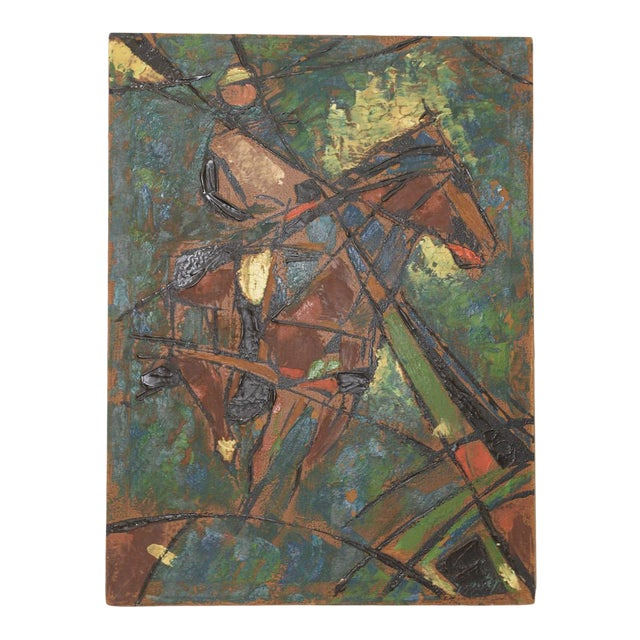 """Vintage Impasto """"Polo Match"""" Abstract Oil Painting C.1970s For Sale"""