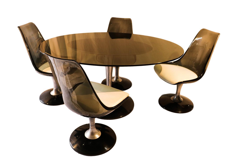 Vintage Acrylic U0026 Glass Chromcraft Dining Set For Sale. An Oval Dining Table  ...