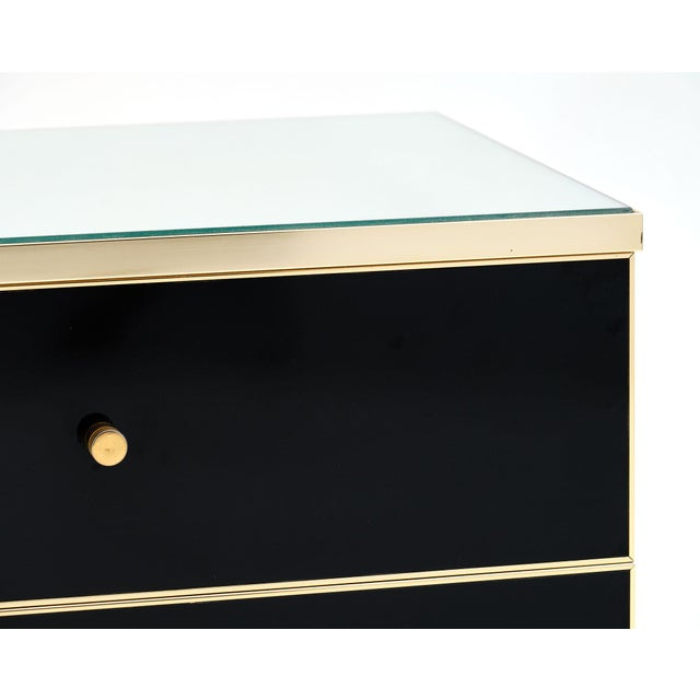 Modernist Mirror Top Black Lacquered Side Tables - a Pair For Sale In Austin - Image 6 of 10