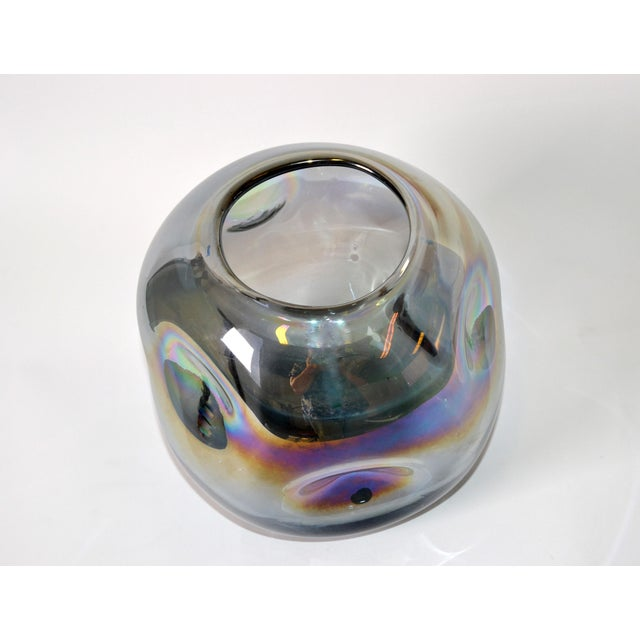 Blown Smoked Glass Vase Mid-Century Modern With Mirror Coating & Round Indents For Sale - Image 11 of 13