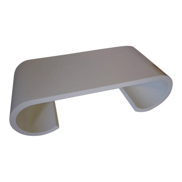 Karl Springer Styled Scroll Coffee Table For Sale