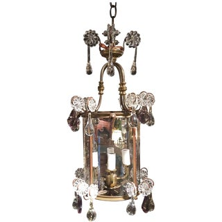 French Lantern Four-Light Adorned With Clear and Amethyst Crystals, 19th Century For Sale