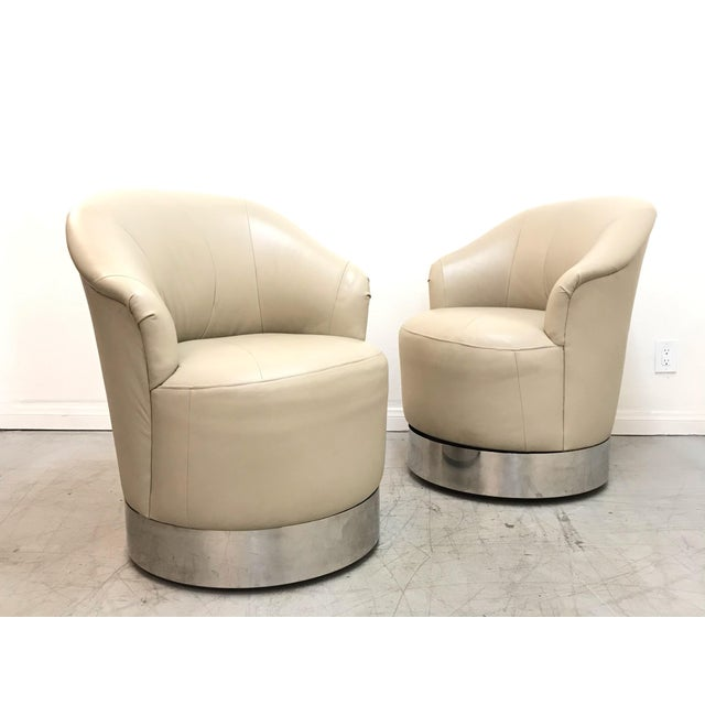 1980s Vintage J. Robert Scott Leather and Chrome Barrel Chairs- A Pair For Sale - Image 9 of 12
