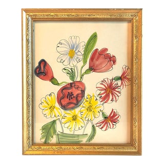 1960s Floral Still Life Watercolor and Ink Drawing For Sale
