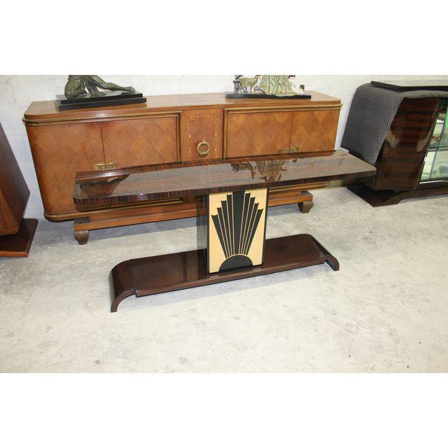 """A long French Art Deco exotic Macassar ebony """"Sunray"""" console table, circa 1940s. Excellent condition. from France Paris ...."""
