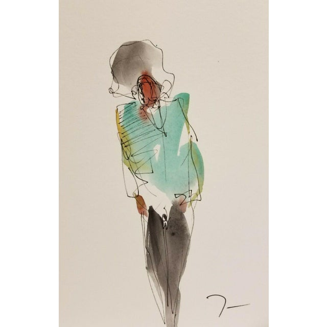 Jose Trujillo Original Abstract Watercolor Painting of Figure Walking For Sale