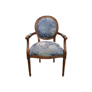 French Vintage Louis XVI Style Oak Armchair New Foliate Blue Upholstery For Sale