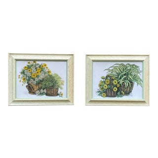 1973 Ida Pellei: Yellow Daisies and Marguerite & Orange Zinnias and Greenery, in Original Frames For Sale