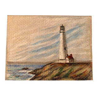 """Lighthouse"" Original Colored Pencil Drawing by Nancy Smith For Sale"