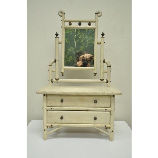 """Aesthetic Movement 30"""" H Antique Arts & Crafts Salesman Sample Bentwood Painted Dresser & Mirror For Sale - Image 3 of 11"""