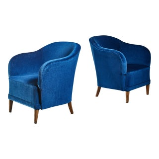 Pair of Swedish Club Chairs, 1940s For Sale