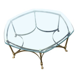 Labarge Hexagonal Glass & Brass Hooved Coffee Table For Sale