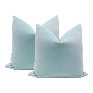 "20"" Spa Blue Velvet Pillows - A Pair"