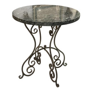 Iron & Marble Top Table For Sale