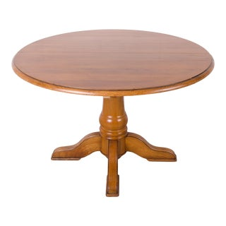 Vintage French Country Style Round Cherry Central Pedestal Dining Table For Sale