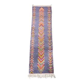 Purple Moroccan Runner Rug With Rainbow Herringbone Center Stripe For Sale