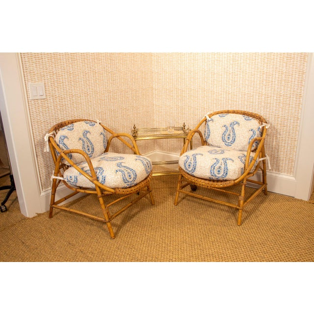 Wood Vintage Rattan and Bamboo Armchairs- a Pair For Sale - Image 7 of 7