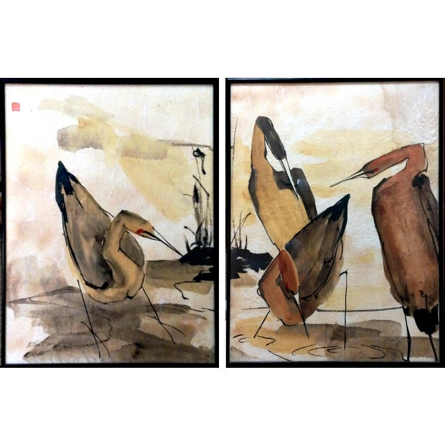 Asian Waterbird Ink & Watercolor Diptych - A Pair - Image 1 of 10