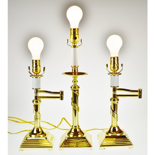 Gold Vintage Brass Candlestick Spiral Twist Column Table Lamp For Sale - Image 8 of 10