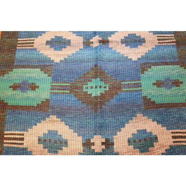 Mid-Century Modern Vintage Double-Sided Swedish or Scandinavian Deco Kilim For Sale - Image 3 of 9