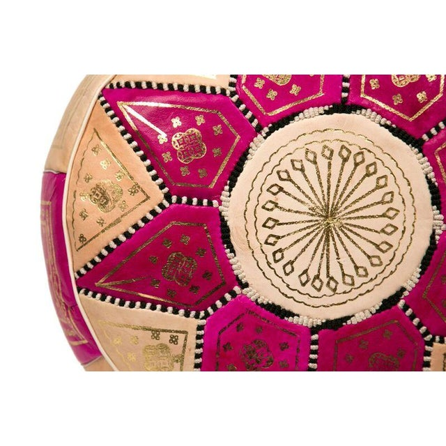 Marrakech Leather Pouf in Fuchsia (Stuffed) - Image 2 of 3