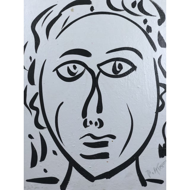 """Portraiture 1980s Portraiture Painting, """"Bue Face"""" by Peter Keil For Sale - Image 3 of 4"""