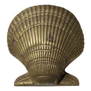 Mid Century Oversized Solid Brass Clamshell Wall Pocket Vase For Sale