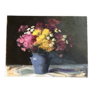 Original Vintage Impressionist Still Life Painting With Flowers 1970's For Sale
