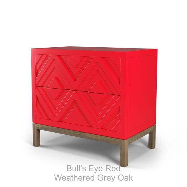Not Yet Made - Made To Order Susana Side Table - Bull's Eye Red, Weathered Gray Oak For Sale - Image 5 of 5