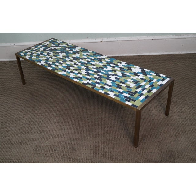 Mid Century Brass Coffee Table with Tile Top - Image 4 of 10