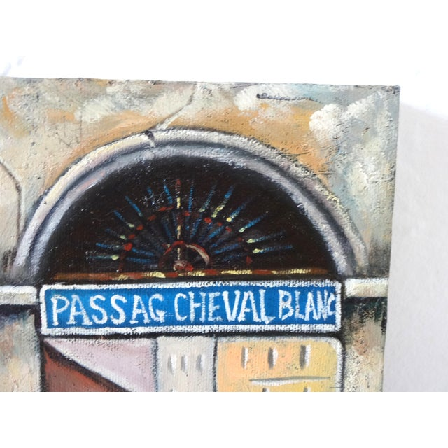 Late 20th Century Vintage Painting of Paris, France, Storefronts and the Passage Du Cheval Blanc For Sale - Image 5 of 8