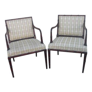 Hollywood Regency Faux Bamboo Upholstered Armchairs - A Pair