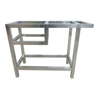 Mid-Century Brushed Aluminum T-Cart Bar