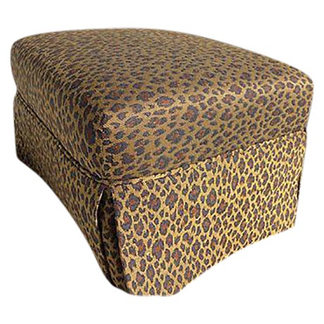 Faux Leopard Skin Upholstered Ottoman - Image 1 of 5
