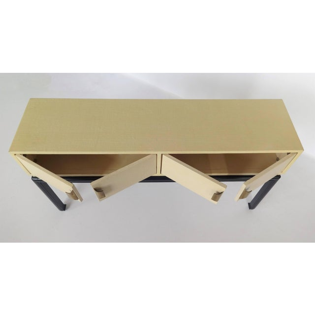 1970s Modern Lacquered Grasscloth Console or Buffet For Sale - Image 5 of 8