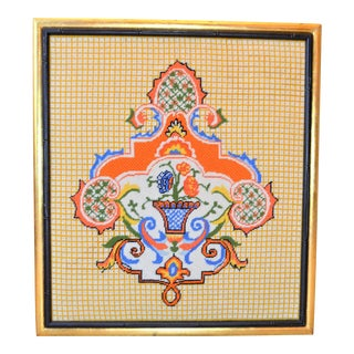 Vintage Crest Needlepoint Art