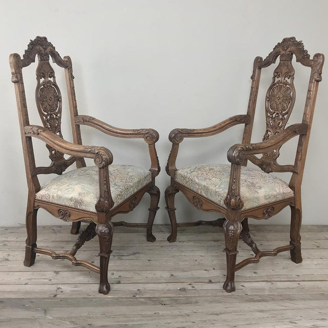 Pair 19th Century Liegoise Louis XIV Armchairs For Sale - Image 4 of 12