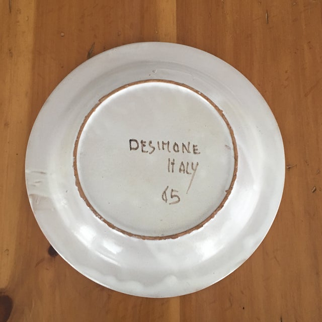 """Ceramic DeSimone Mi- Century 10 """" Pottery Charger For Sale - Image 7 of 10"""