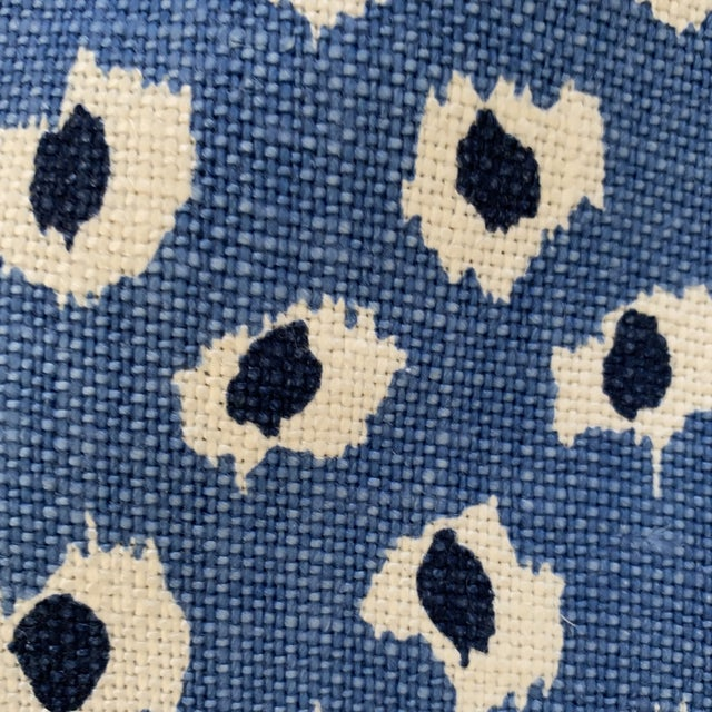 """Boho Chic Quadrille China Seas """"Moroc"""" Blue Animal Print Heavy Weight Linen Fabric- 2 3/4 Yards For Sale - Image 3 of 6"""