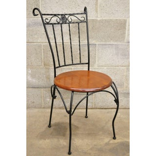 Vintage Scrolling Wrought Iron Round Wooden Seat Bistro Dining Side Chairs- Set of 4 Preview