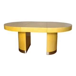 Mid-Century Yellow Vellum Dining Table For Sale