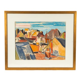 Abstract Seaside Cityscape Drawing From Belgium Circa 1898 For Sale
