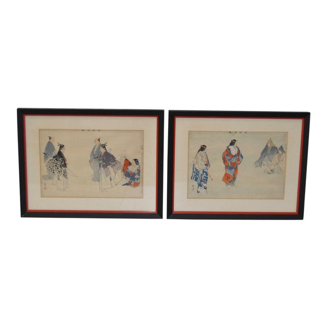 19th Century Japanese Woodblock Prints of Sporting Scenes - a Pair For Sale