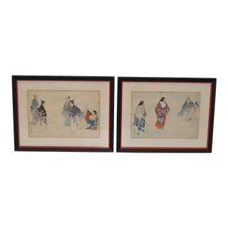 Pair of 19th Century Japanese Woodblock Prints of Sporting Scenes For Sale