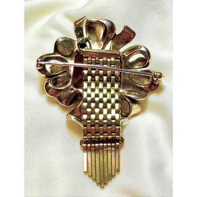 Kreisler Gold Plated Sterling & Topaz Glass Tassel Brooch, 1940s For Sale - Image 4 of 7