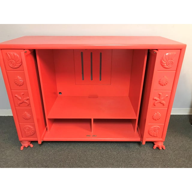 Salmon Custom Made Shell Motif Television Cabinet For Sale - Image 8 of 11