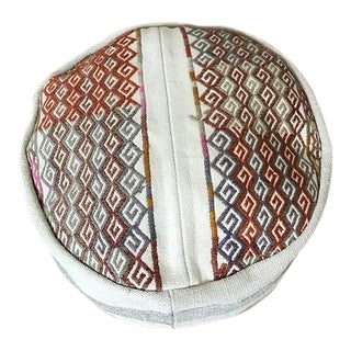Embroidered Turkish Boho Pouf For Sale